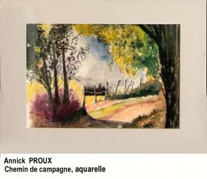 """Annick Proux """"Chemin de campagne"""" Aquarelle"""