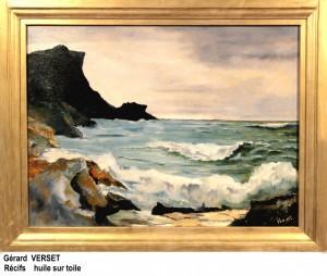 Gérard VERSET Récifs Peinture à l'huile encadrée 80 x 40 cm
